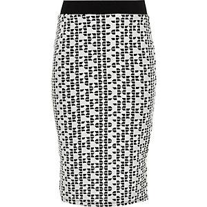Girls white and black jacquard tube skirt