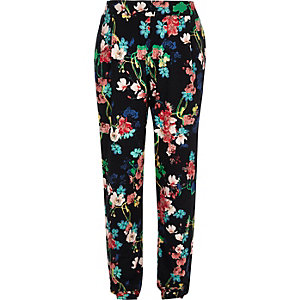 Girls black floral print joggers