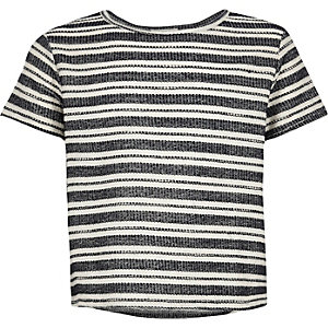 Girls cream stripe t-shirt