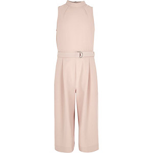 Girls pink D-ring jumpsuit