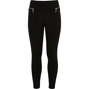 Girls black side zip leggings