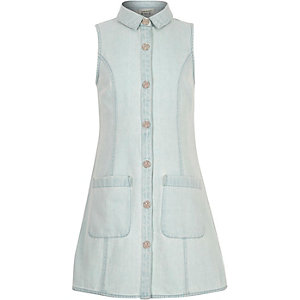 Girls light blue denim button-up dress