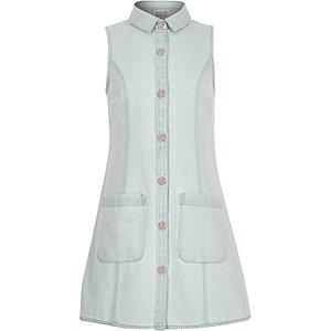 Girls light blue denim button-up dress