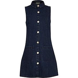 Girls blue denim sleeveless dress
