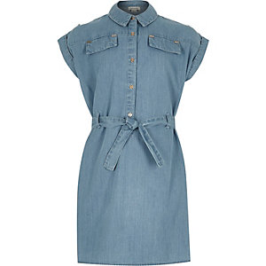 Girls denim belted shirt dress