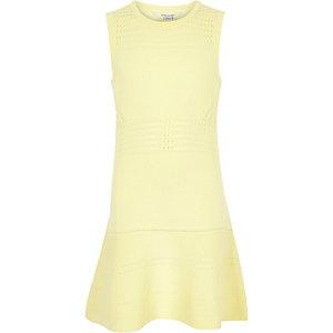 Girls yellow knitted flippy dress