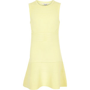 Girls yellow knitted flippy dress