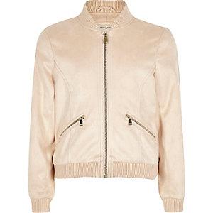 Girls beige faux suede bomber jacket