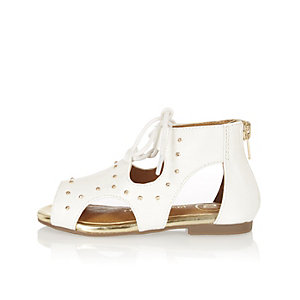 Mini girls white cut-out sandals
