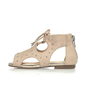 Mini girls light pink cut-out sandals