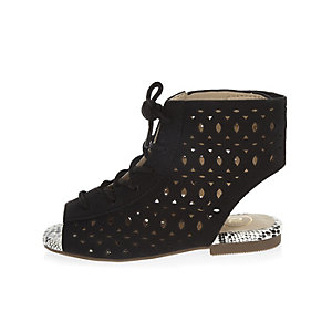 Mini girls black laser cut sandals