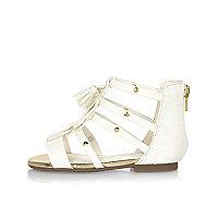 Mini girls white gladiator sandals