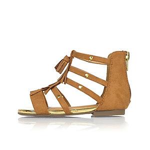 Mini girls brown tassel gladiator sandals