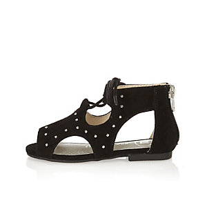 Mini girls black studded cut-out sandals