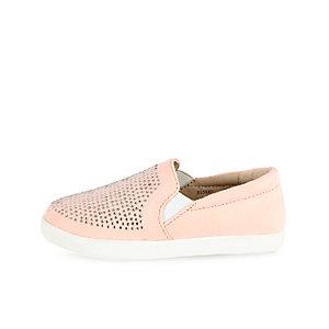 Mini girls pink embellished slip on plimsolls