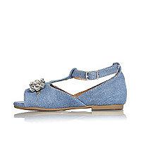Mini girls denim embellished shoes