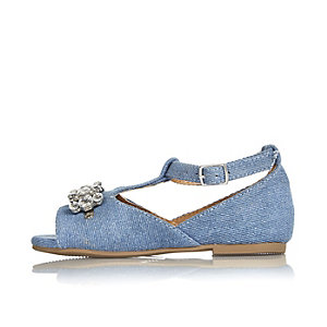 Mini girls denim embellished shoes