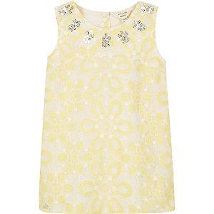 Mini girls yellow embellished dress