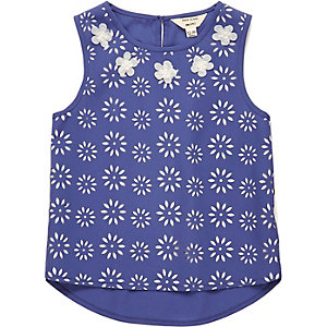 Mini girls blue laser cut top