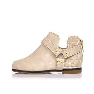 Mini girls beige ankle boots