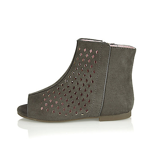 Mini girls grey laser-cut boots