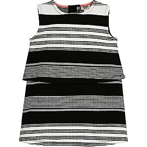 Mini girls black stripe double layer dress