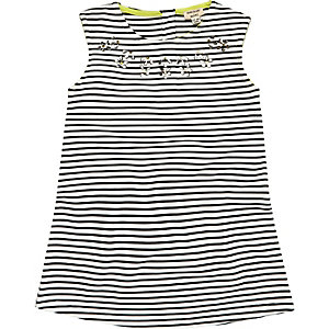 Mini girls black stripe shift dress
