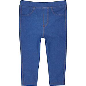 Mini girls blue denim-look leggings