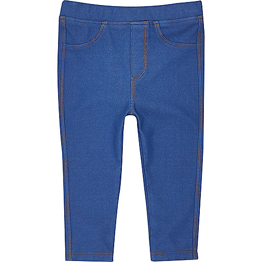 Mini girls blue denim-look leggings