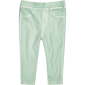 Mini girls green denim-look leggings