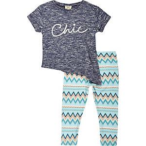 Mini girls blue chic t-shirt leggings outfit