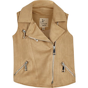Mini girls faux suede biker vest