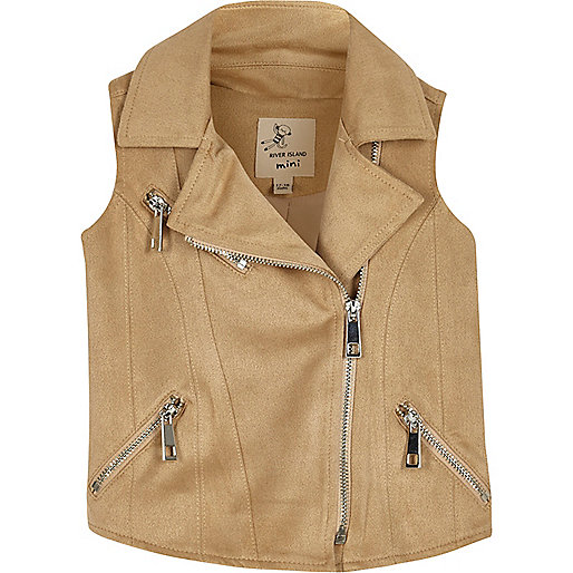 Mini girls faux suede biker vest