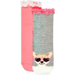 Girls pink dog frilly socks pack