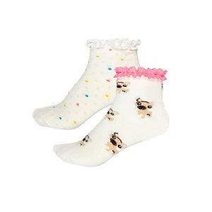 Cream mixed print socks pack