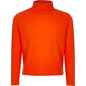 Girls red ribbed roll neck top