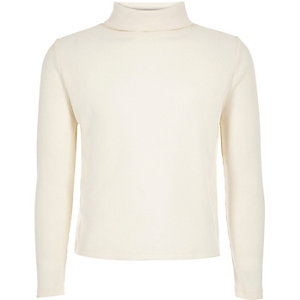 Girls cream ribbed roll neck top