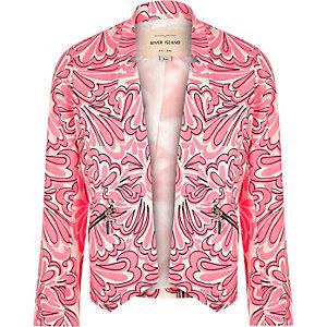 Girls pink print smart blazer