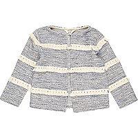 Mini girls blue stripe tassel jacket