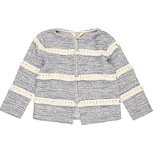 Mini girls blue stripe tassel jacket