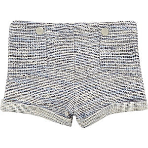 Mini girls blue jacquard shorts