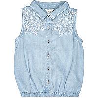 Mini girls blue denim shirt