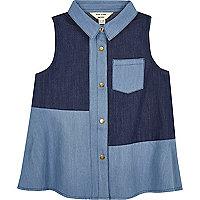 Mini girls blue denim swing shirt