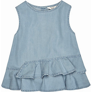 Mini girls light denim wash peplum top