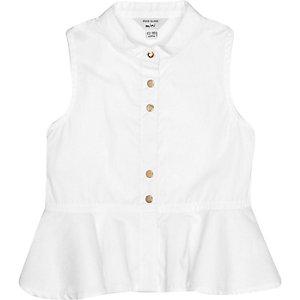 Mini girls white peplum hem top