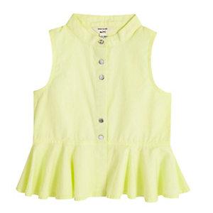 Mini girls yellow peplum shirt