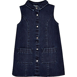 Mini girls dark blue wash denim shift dress