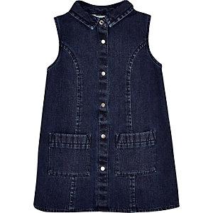 Robe droite en jean bleu foncé délavé pour mini fille