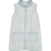 Mini girls light blue denim shift dress