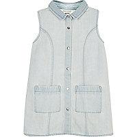 Mini girls light blue denim shift dress